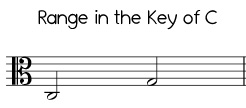 Easy Jingle Bells range in C, low version alto clef