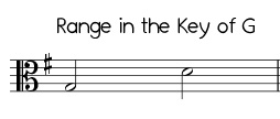 Easy Jingle Bells range in G, low version alto clef