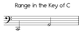 Easy Jingle Bells range in C, low version bass clef