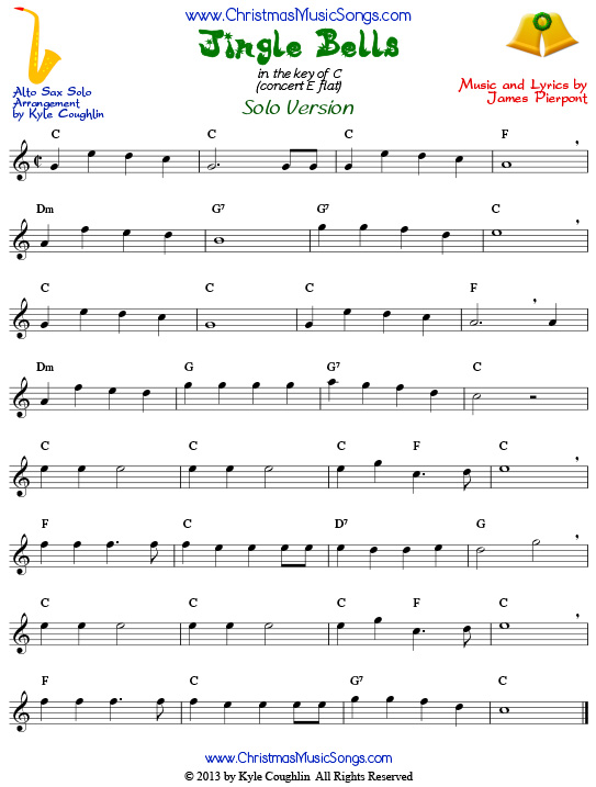 picture about Free Printable Alto Saxophone Sheet Music identified as Jingle Bells for Alto Saxophone - No cost Sheet New music