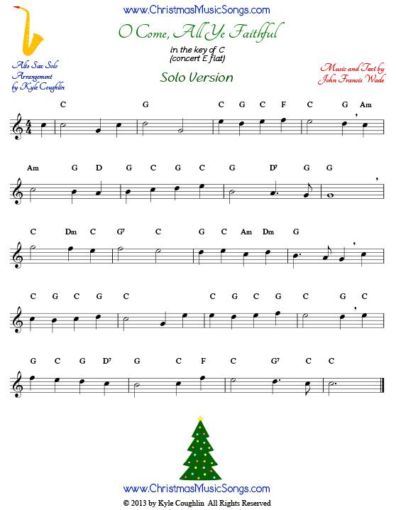 O Come, All Ye Faithful for alto saxophone - free sheet music