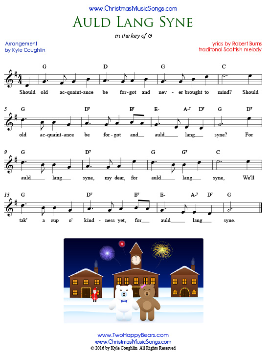 Auld Lang Syne lyrics and lead sheet