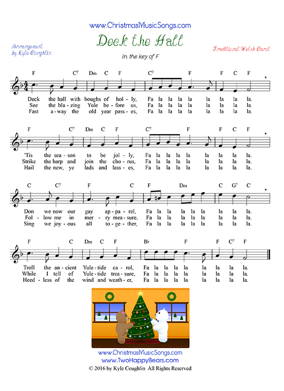 deck the halls sheet music with lyrics