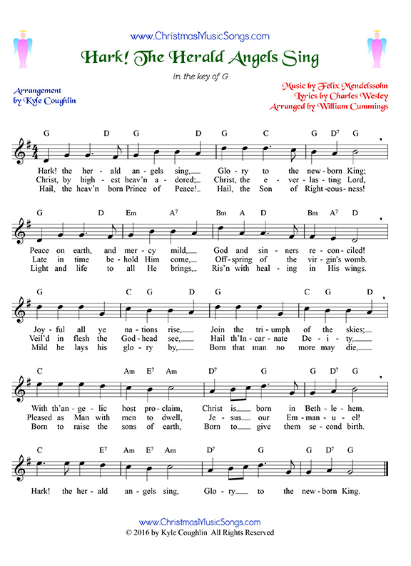 Hark! The Herald Angels Sing sheet music with lyrics