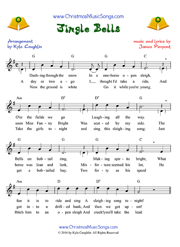 photo about Jingle Bells Lyrics Printable called Jingle Bells no cost sheet tunes