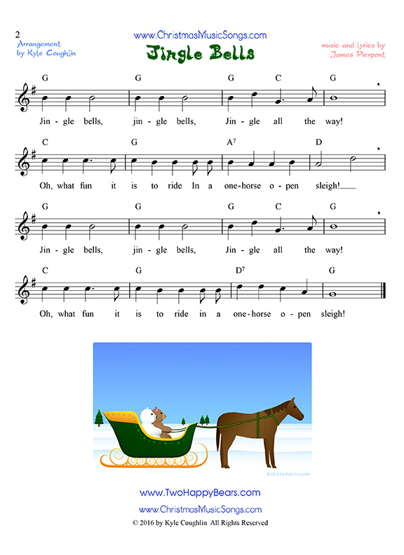 Jingle Bells Free Sheet Music Of An Easy Version Of The Song