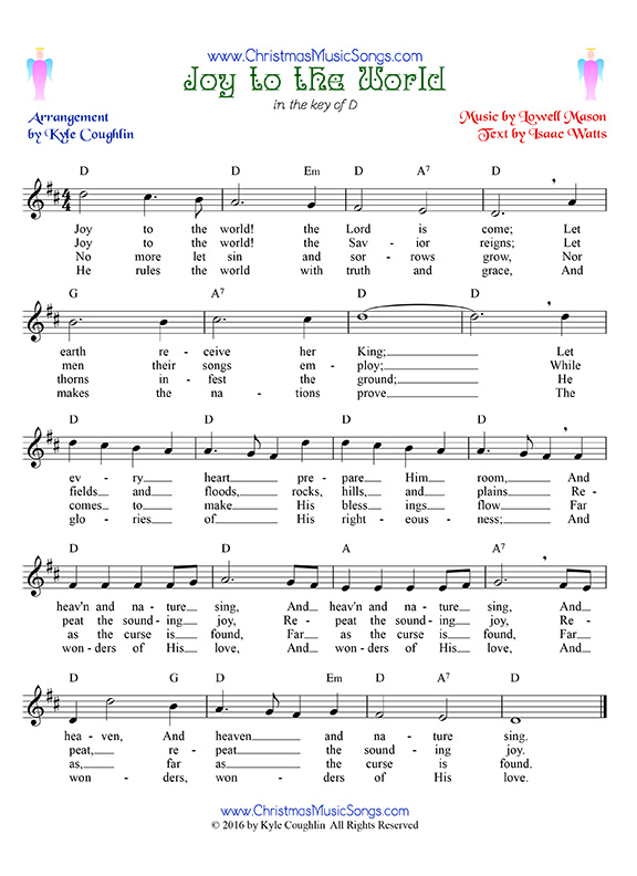 Joy to the World free sheet music