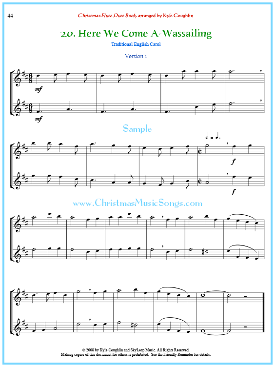 here we come a-wassailing flute duet free sheet music  christmas carol sheet music
