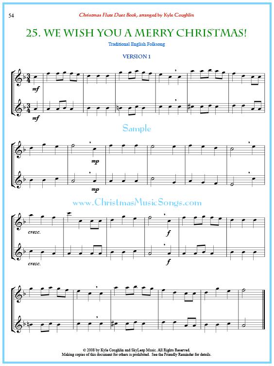 Christmas Violin Duets Pdf.We Wish You A Merry Christmas Flute Duet Free Sheet Music