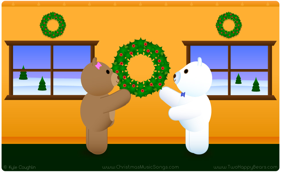 Deck the Halls with Fluffy and Ivy, the Two Happy Bears, as they decorate their hall.