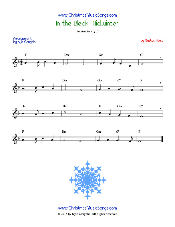 In the Bleak Midwinter free sheet music