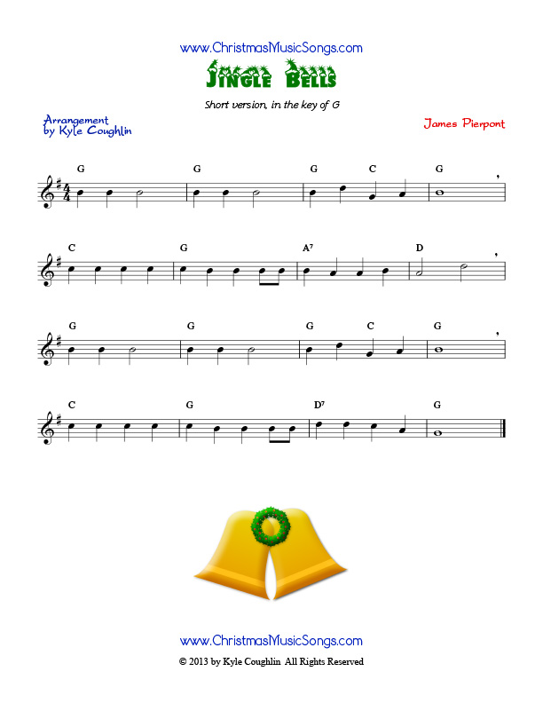 Violin silver bells violin sheet music : Jingle Bells free sheet music of an easy version of the song
