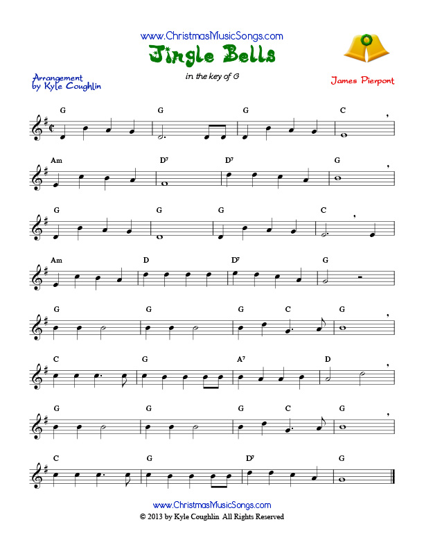 photograph regarding Jingle Bells Lyrics Printable identified as Jingle Bells no cost sheet audio
