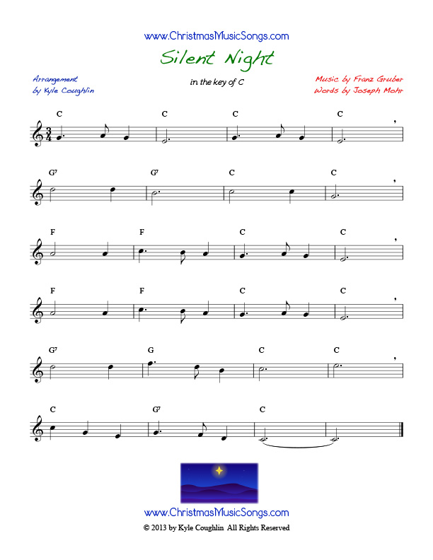 Silent Night sheet music with lyrics