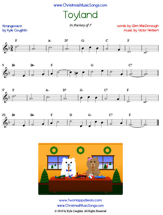 The Christmas song Toyland sheet music in printable PDF.
