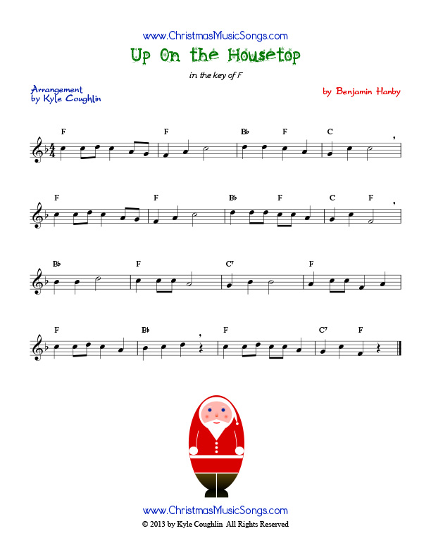 Up On The Housetop Free Sheet Music