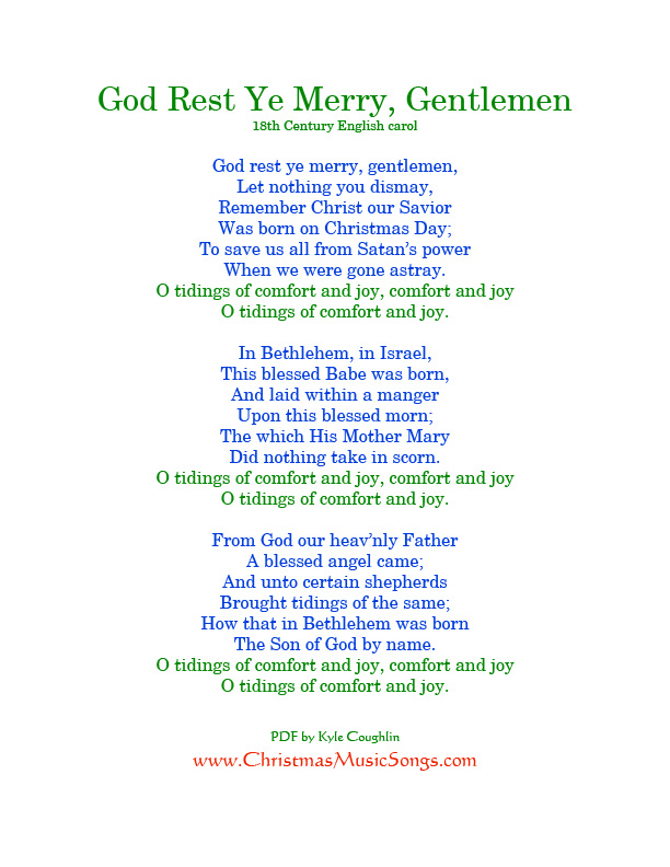 God Rest Ye Merry, Gentlemen lyrics