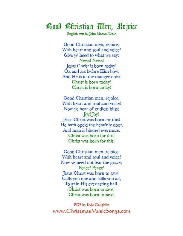 Lyric man song lyrics : Good Christian Men, Rejoice lyrics