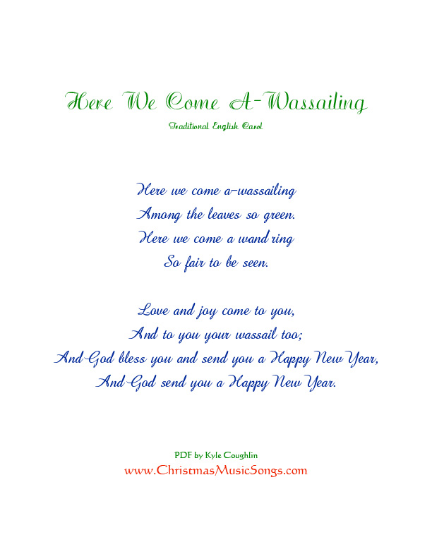 Printable PDF of Here We Come A-Wassailing lyrics