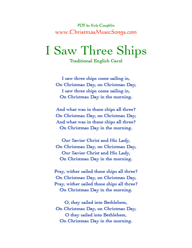 Printable PDF of I Saw Three Ships lyrics