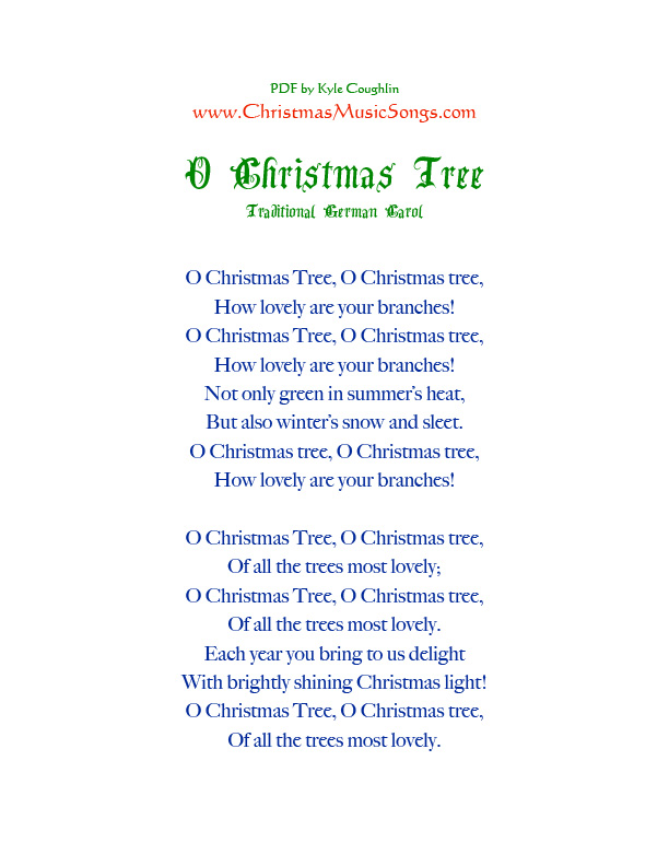 printable PDF of the lyrics to O Christmas Tree