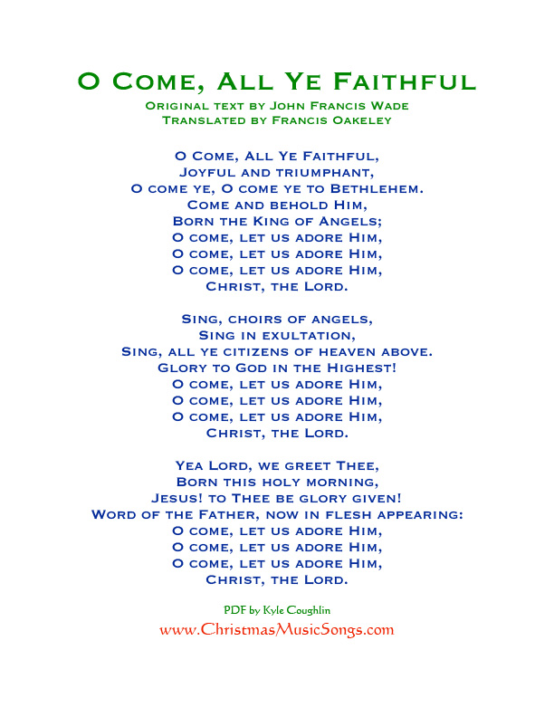 picture relating to Printable Christmas Songs Lyrics Free identify O Appear, All Ye Devoted lyrics