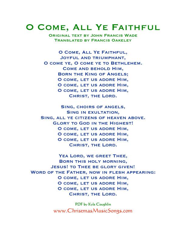 O come all ye faithful lyrics o come all ye faithful lyrics free printable pdf m4hsunfo