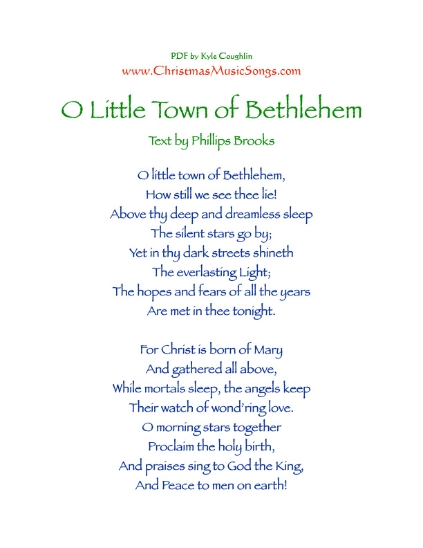 Printable PDF of the lyrics to O Little Town of Bethlehem
