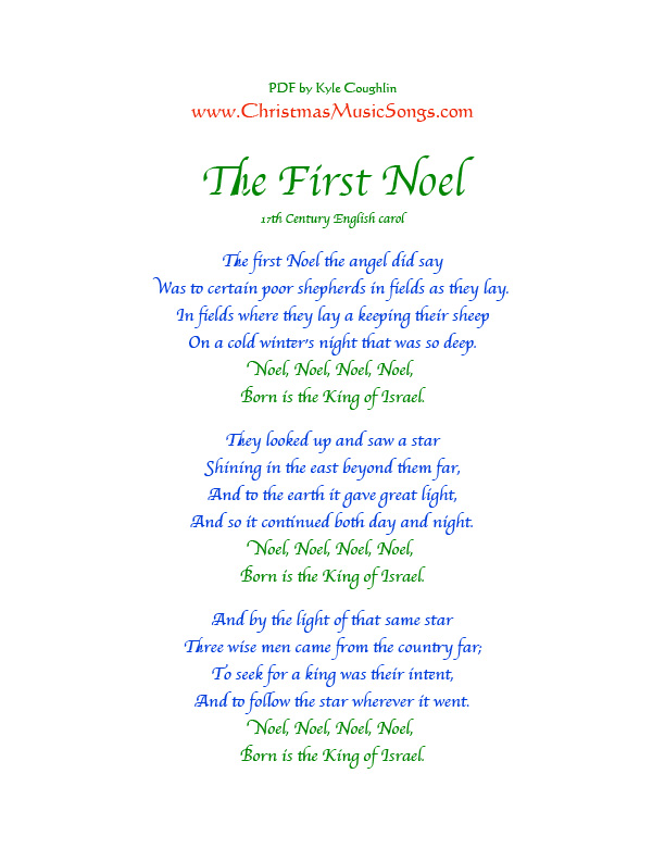 Printable PDF of the lyrics to The First Noel