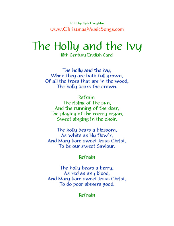 Printable PDF of the lyrics to The Holly and the Ivy