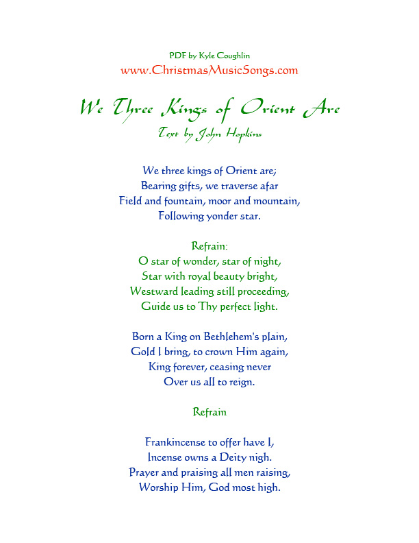 image regarding We Three Kings Lyrics Printable titled We A few Kings of Orient Are lyrics