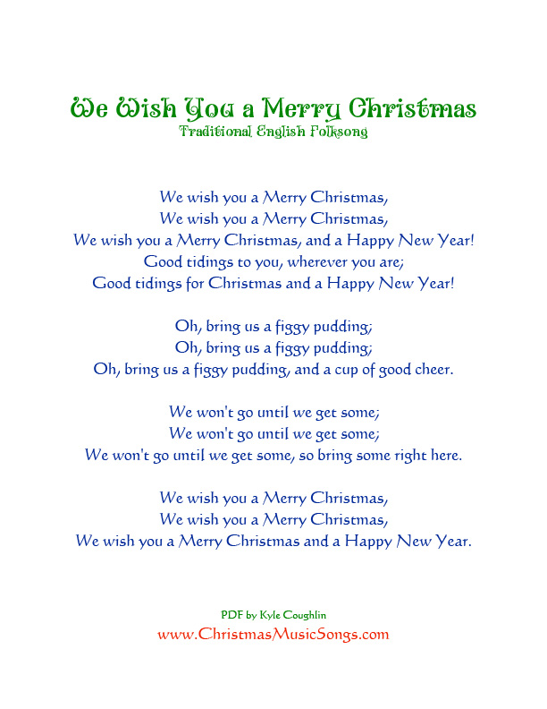 This is a graphic of Magic We Wish You a Merry Christmas Lyrics Printable