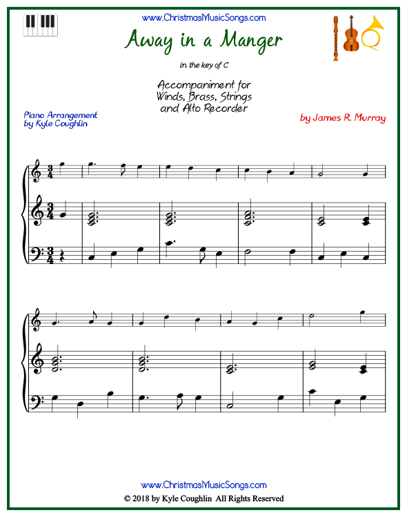 Away in a Manger piano accompaniment to play along with all wind, brass, strings, and alto recorder arrangements on www.ChristmasMusicSongs.com. Free printable PDF.