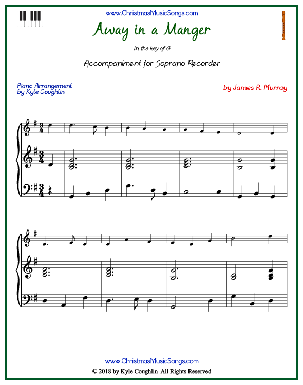 Away in a Manger piano accompaniment to play along with the soprano recorder arrangement on www.ChristmasMusicSongs.com. Free printable PDF.