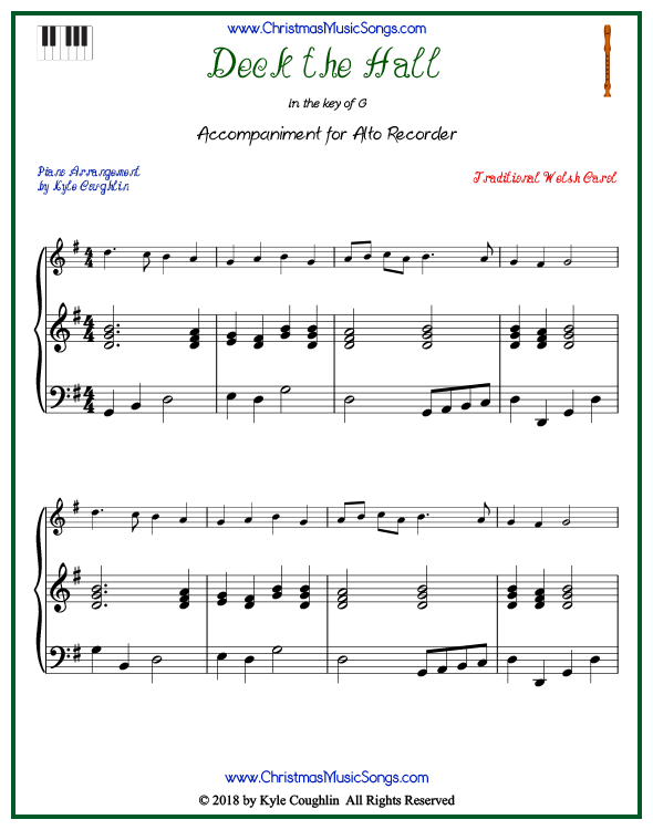 Deck the Halls piano accompaniment to play along with the alto recorder arrangement on www.ChristmasMusicSongs.com. Free printable PDF.