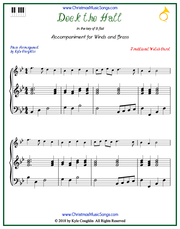 Deck the Halls piano accompaniment to play along with all wind and brass arrangements on www.ChristmasMusicSongs.com. Free printable PDF.