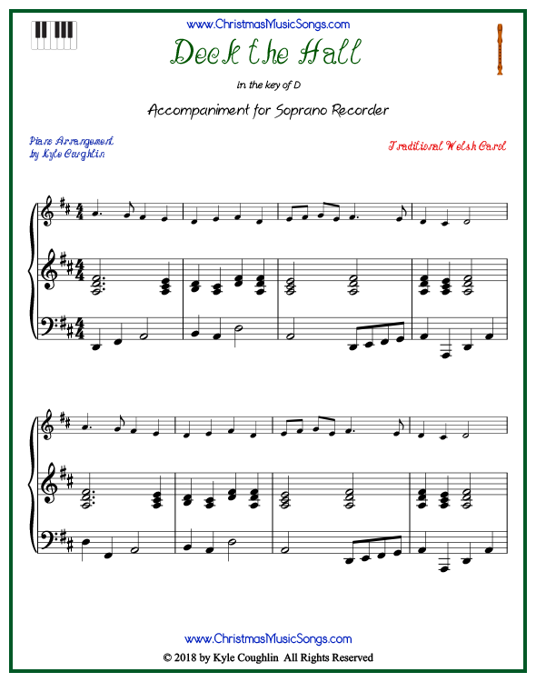 Deck the Halls piano accompaniment to play along with the soprano recorder arrangement on www.ChristmasMusicSongs.com. Free printable PDF.