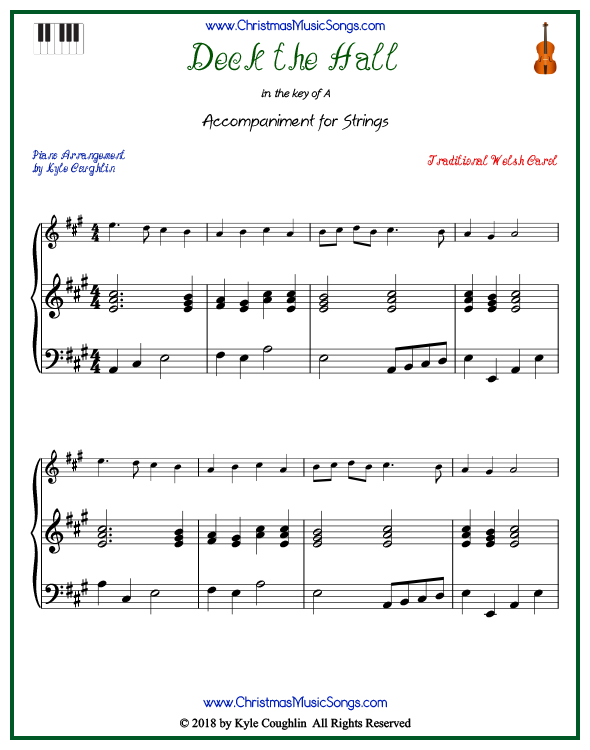 Deck the Halls piano accompaniment to play along with all string and soprano recorder arrangements on www.ChristmasMusicSongs.com. Free printable PDF.