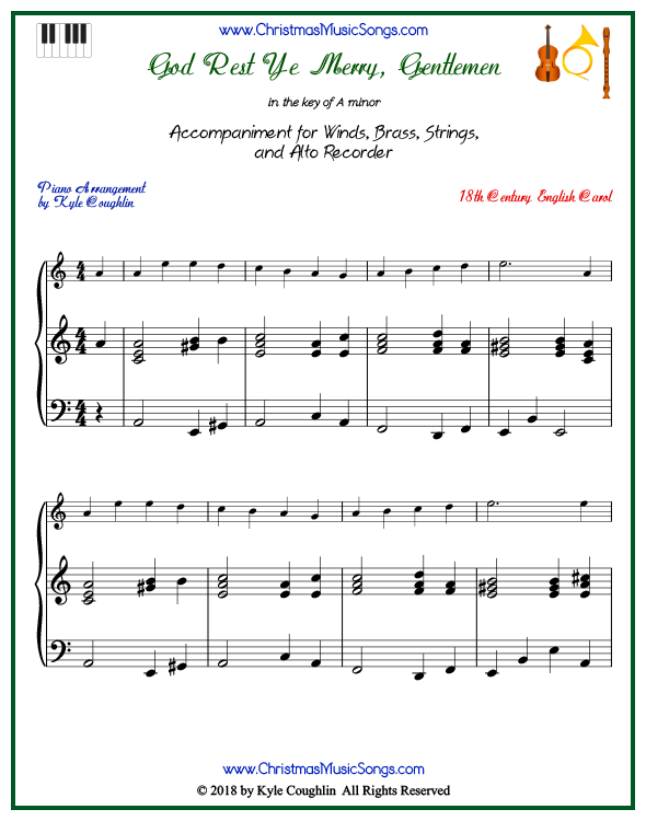 God Rest Ye Merry, Gentlemen piano accompaniment to play along with all wind, brass, strings, and alto recorder arrangements on www.ChristmasMusicSongs.com. Free printable PDF.