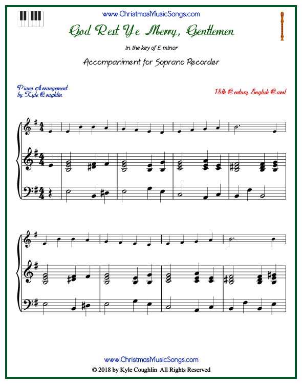 God Rest Ye Merry, Gentlemen piano accompaniment to play along with the soprano recorder arrangement on www.ChristmasMusicSongs.com. Free printable PDF.