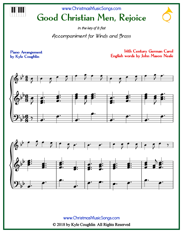 Good Christian Men, Rejoice piano accompaniment to play along with all wind and brass arrangements on www.ChristmasMusicSongs.com. Free printable PDF.