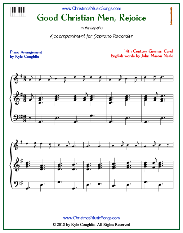 Good Christian Men, Rejoice piano accompaniment to play along with the soprano recorder arrangement on www.ChristmasMusicSongs.com. Free printable PDF.