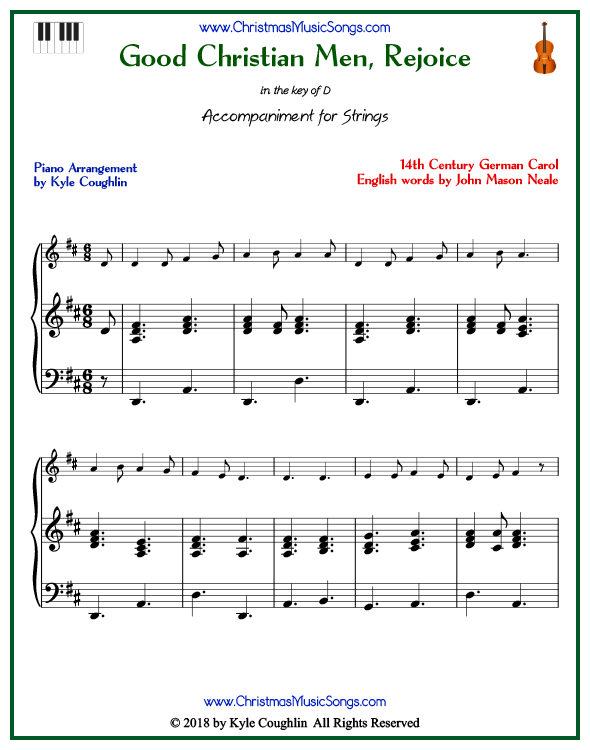 Good Christian Men, Rejoice piano accompaniment to play along with all string and soprano recorder arrangements on www.ChristmasMusicSongs.com. Free printable PDF.