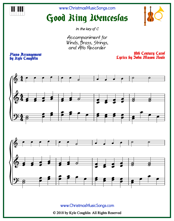 Good King Wenceslas piano accompaniment to play along with all wind, brass, strings, and alto recorder arrangements on www.ChristmasMusicSongs.com. Free printable PDF.
