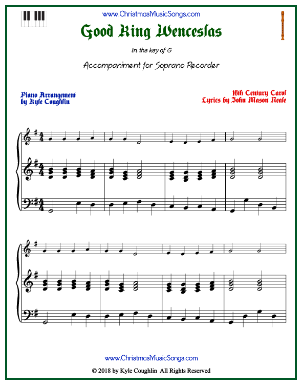 Good King Wenceslas piano accompaniment to play along with the soprano recorder arrangement on www.ChristmasMusicSongs.com. Free printable PDF.
