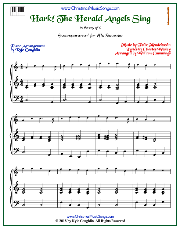 Hark! The Herald Angels Sing piano accompaniment to play along with the alto recorder arrangement on www.ChristmasMusicSongs.com. Free printable PDF.