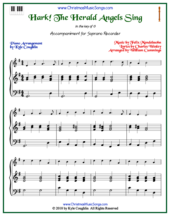 Hark! The Herald Angels Sing piano accompaniment to play along with the soprano recorder arrangement on www.ChristmasMusicSongs.com. Free printable PDF.