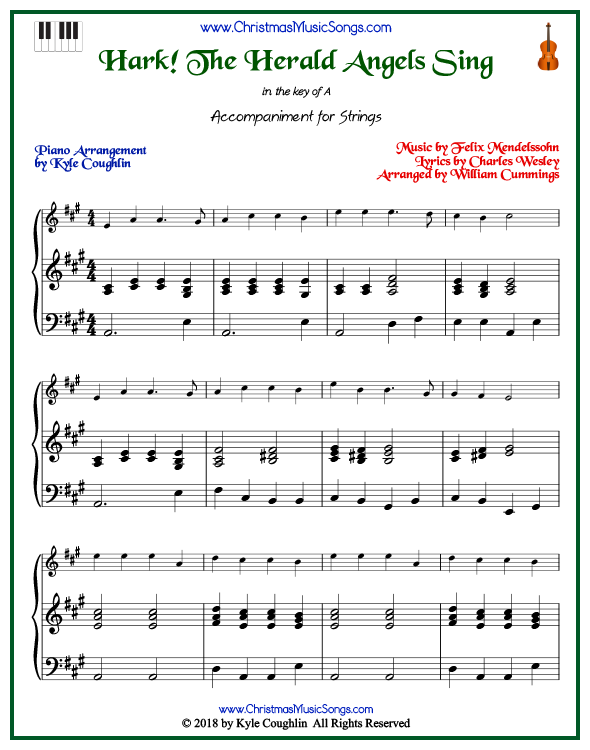 Hark! The Herald Angels Sing piano accompaniment to play along with all string and soprano recorder arrangements on www.ChristmasMusicSongs.com. Free printable PDF.