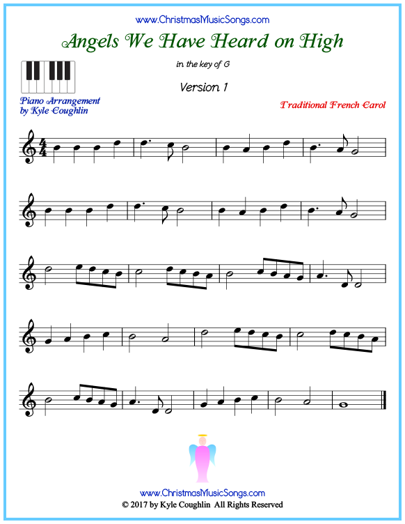 Beginner version of piano sheet music for Angels We Have Heard on High
