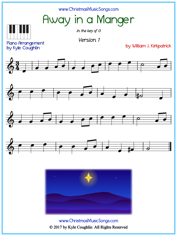 Beginner version of piano sheet music for Away in a Manger by Kirkpatrick